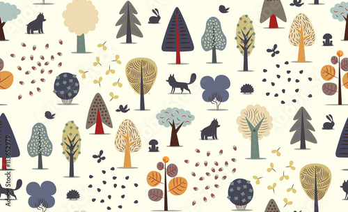 Materiał do szycia The vector illustrated seamless pattern of flat forest elements - various trees, wild animals and seeds.