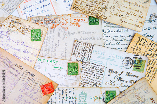 English old post cards 1940th, vintage background