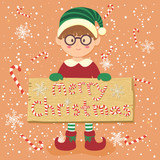 Illustration of christmas greeting card with a boy 