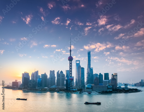 Plakát, Obraz shanghai skyline with morning glow