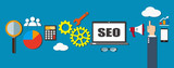 seo concept; Search Engine Optimization. Flat design background