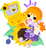 A cute little girl and a PC of sunflower