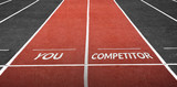 Run Track at Stadium with You Word and Competitor Word