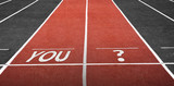 Run Track at Stadium with You Word and Question Mark