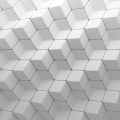 White abstract cubes backdrop. 3d rendering geometric polygons