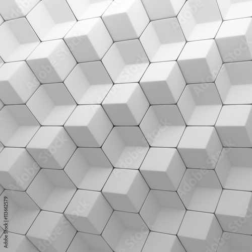 Fototapeta White abstract cubes backdrop. 3d rendering geometric polygons
