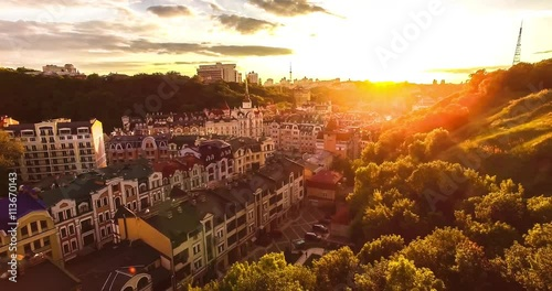 Foto op Plexiglas Bruin Aerial view sunset in the city. beautiful view of the city on the river.beautiful sunset