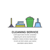 Cleaning service banner design for advertisement with trash bin, brush, scoop and plunger icons.