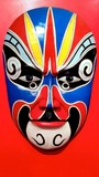 Chinese Traditional Opera Mask on red background