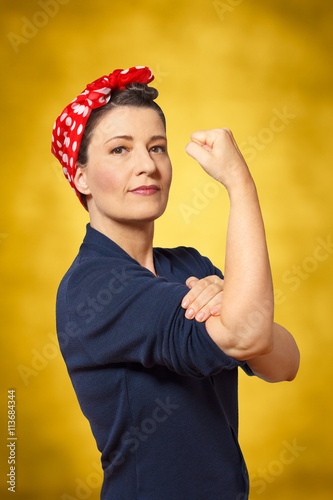 Poster strong woman clenched fist womanpower