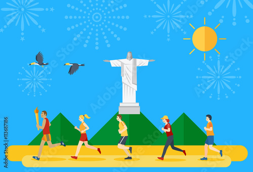 Poster Flat design, group of people running and a man holding flaming torch in Brazil