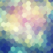 abstract background consisting of pink, yellow, green, blue hexagons