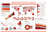 Infographic design template with graphs, world map