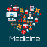 Healthy heart symbol with medical services icons