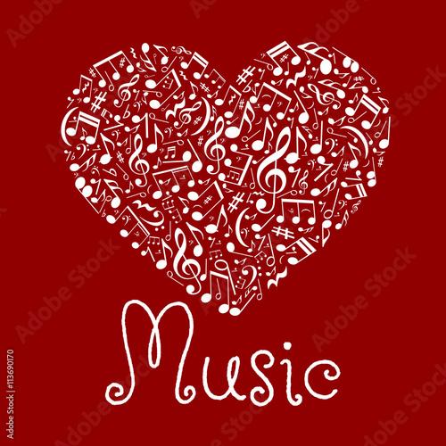 Fototapeta Loving musical heart symbol made up of notes