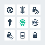 Security icons, secure transaction, online security, key, lock, shield, isolated icons set, vector illustration