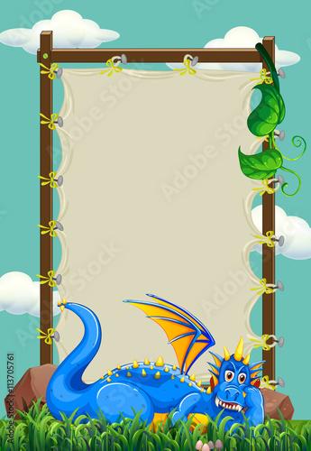 Zdjęcia na płótnie, fototapety, obrazy : Frame designs with dragon in the field