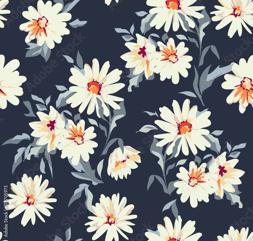 Cotton fabric pretty daisy floral print ~ seamless background