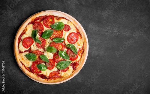 Organic pizza with vegetables and cheese