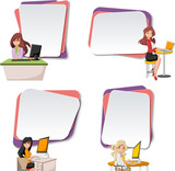 Vector banners / backgrounds with cartoon business women using computer. Design text box frames. 