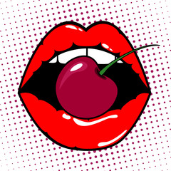 Woman red lips with cherry on pop art background. Vector illustration