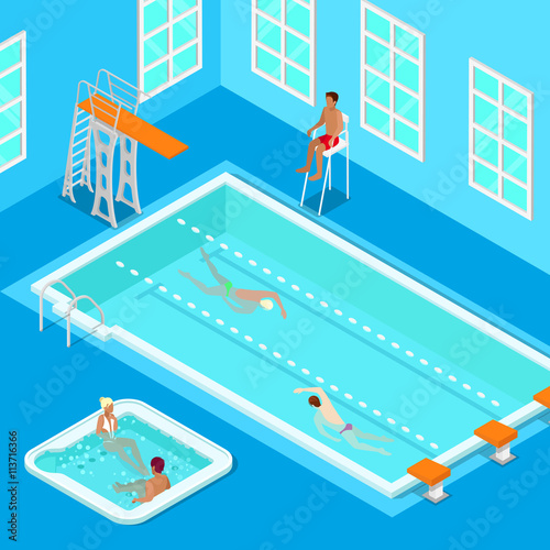 Plagát, Obraz Indoors Swimming Pool with Swimmers, Lifesaver and Jacuzzi
