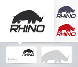 Rhino vector logo with business card template
