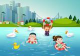 Children swimming in the lake