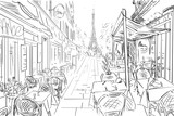 Street in paris -  sketch illustration concept - 113737163