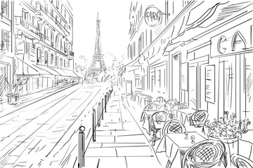 Street in paris -  sketch illustration concept