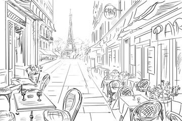 Fototapeta uliczka paryż - szkic