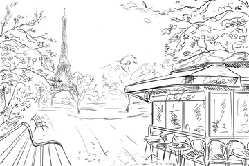 Street in paris - sketch illustration concept