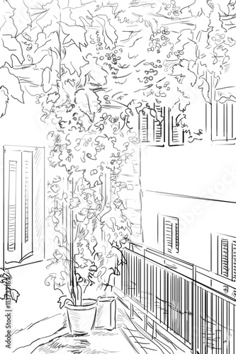 illustration the greek town - sketch concept