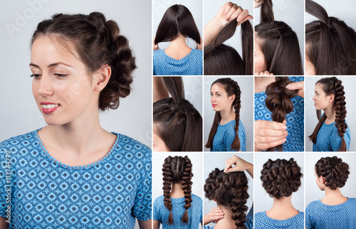 hairstyle plaits for long hair tutorial © alter_photo