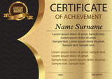 Certificate or diploma. Template on a gold background. Vector.