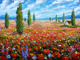 Fototapeta Flower painting Field of red poppies. ORIGINAL oil painting of flowers, beautiful field flowers on canvas.Field red flowers. Modern Impressionism.Impasto artwork. Rural landscape warm flowers art.