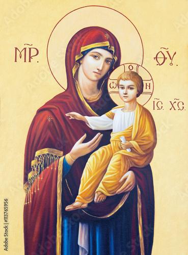 BRESCIA, ITALY - MAY 23, 2016: The icon of Madonna in presbytery of church Chiesa di Angela Merici by unknown artist. © Renáta Sedmáková