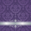 Luxury purple floral damask cover silver border