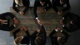 Business people shaking hands, teamwork brainstorming planning meeting concept