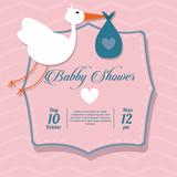 Baby Shower design. stork  icon.  pink illustration, vector grap