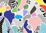 Creative geometric background with floral elements and different textures. Vector