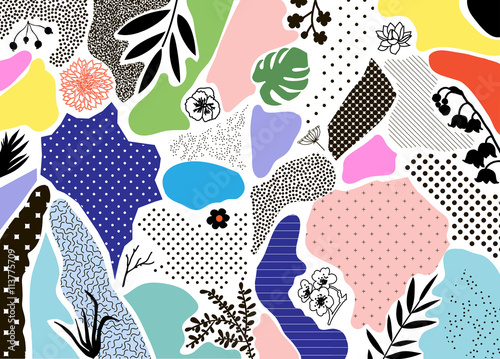 Creative geometric background with floral elements and different textures. Vector - 113775709