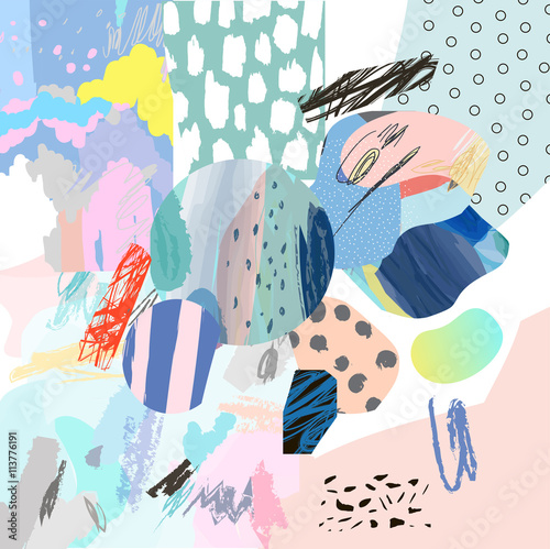 Trendy creative collage with different textures and shapes. Modern graphic design.  Unusual artwork. Vector. Isolated - 113776191