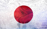 Japan flag with watter drops, rainy weather - 113777769