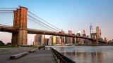 Alpenglow red on the Brooklyn Bridge New York