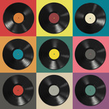 Fototapety Vinyl records with colorful labels