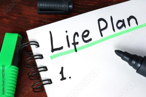 Plan écrit sur un ordinateur portable de vie Poster