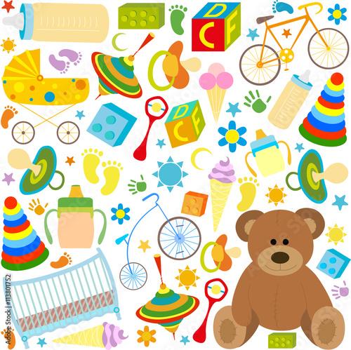 Fototapeta pattern of children's toys and items