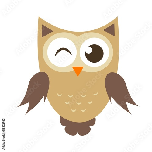 Funny cartoon owl icon