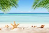 Fototapety Summer sandy beach with blur ocean on background